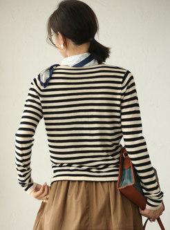 V-neck Color-blocked Striped Pullover Sweater