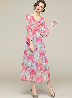 Ruched Print Lantern Sleeve Chiffon Maxi Dress