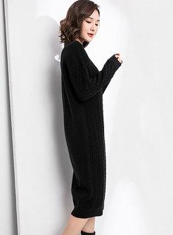 Half Turtleneck Cable-knit Sweater Shift Dress