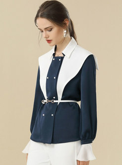 Color-blocked Belted Lapel Loose Blouse