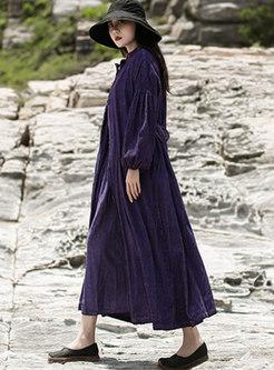 Retro Mock Neck Solid Color Corduroy Maxi Dress