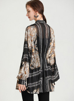 Mock Neck Ruched Plus Size Print Blouse
