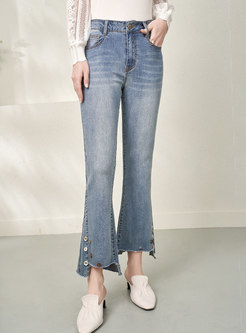 High Waisted Irregular Denim Flare Pants