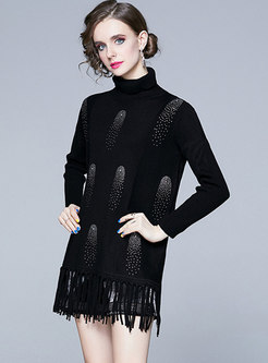 Turtleneck Fringed Pullover Long Sweater