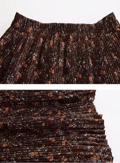 High Waisted Print A Line Pleated Skirt