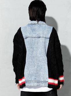 Color-blocked Knit Patchwork Washed Denim Jacket