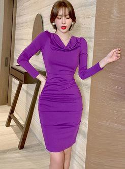 Cowl Neck Long Sleeve Ruched Sheath Dress