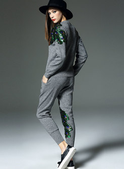 Crew Neck Peacock Pattern Knitted Pant Suits