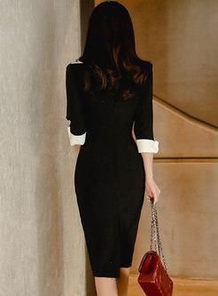 Notched Collar Sheath Black Work Dress