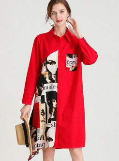 Plus Size Letter Print Shift Shirt Dress