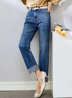Ripped Fringed Straight Denim Pants With Belt