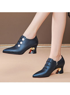 Pointed Toe Block Heel Spring/Fall Shoes