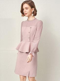 Polka Dot Patchwork Ruffle Split Skirt Suits