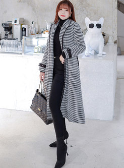 Lapel Houndstooth Belted A Line Long Overcoat
