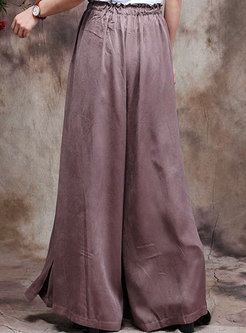Plus Size High Waisted Drawstring Wide Leg Pants