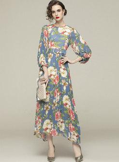 Bohemian Lantern Sleeve Print Belted Maxi Dress