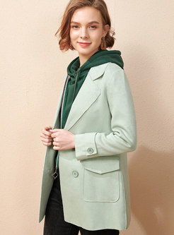 Lapel Double-breasted Flap Pocket Straight Blazer