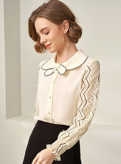 Lace Openwork Long Sleeve Color Block Blouse