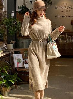 Solid Turtleneck Split Shift Knitted Dress