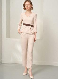 V-neck Split Slim High Waisted Pant Suits