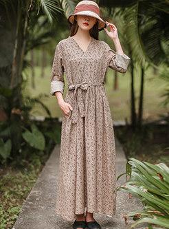 Retro Long Sleeve Print A Line Maxi Dress