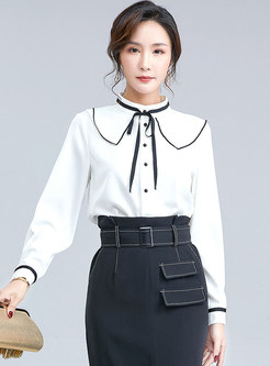 Color Block Single-breasted Sweet Blouse