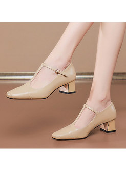 Patent Leather Low-fronted Chunky Heel Shoes