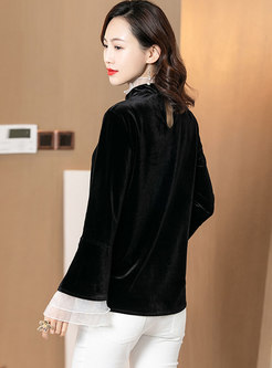 Mock Neck Lace Openwork Slim Pullover Blouse