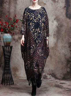 Print Polka Dot Patchwork Fringed Shift Dress