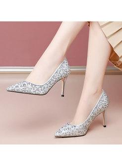 Pointed Toe Low-fronted Rhinestone Wedding Heels