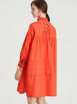 Plus Size Mock Neck Solid Shift Dress