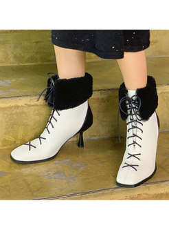 Lambswool Patchwork Lace-up Ankle Boots