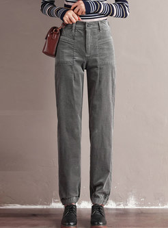 High Waisted Corduroy Cargo Pants