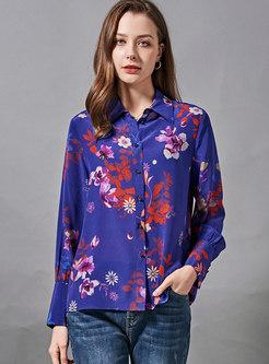 Print Long Sleeve Single-breasted Silk Blouse