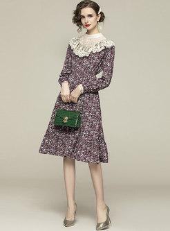 Mock Neck Lace Patchwork Print Midi Dress