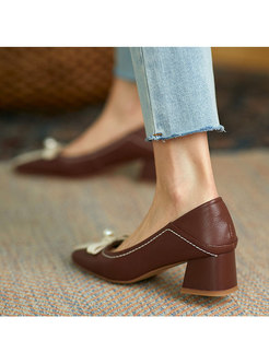 Square Toe Color Block Chunky Heel Shoes