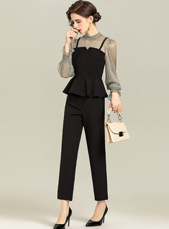 Ruffle Patchwork High Waisted Slim Pant Suits