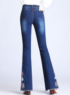 High Waisted Denim Embroidered Flare Pants