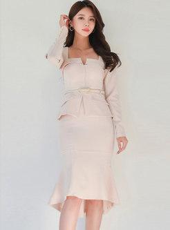 Square Neck Belted Sheath Peplum Dress