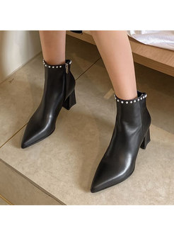 Pointed Toe Chunky Heel Pearl Short Boots