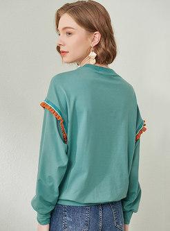Letter Embroidered Pullover Lettuce Sweatshirt
