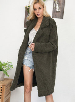 Lapel Straight Knee-length Faux Shearling Coat
