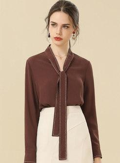 V-neck Ribbon Pullover Chiffon Blouse