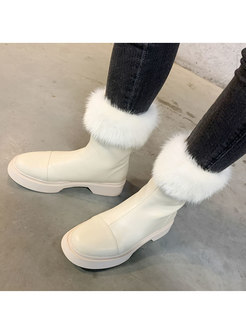 Rounded Toe Plush Patchwork Short Boots