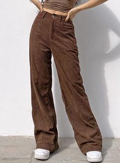 Retro High Waisted Corduroy Straight Pants