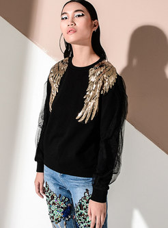 Crew Neck Sequin Beaded Mesh Pullover Sweatshirt