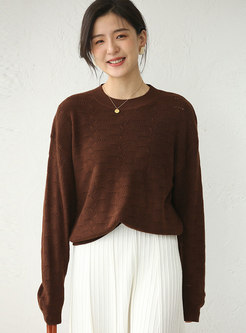 Solid Pullover Openwork Loose Sweater