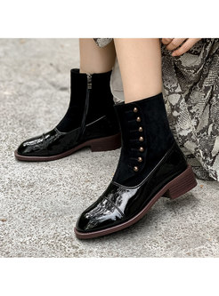 Patent Leather Low Chunky Heel Short Boots