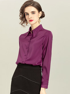 Solid Lapel Openwork Single-breasted Blouse