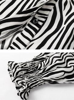 Turn Down Collar Zebra Chiffon Blouse